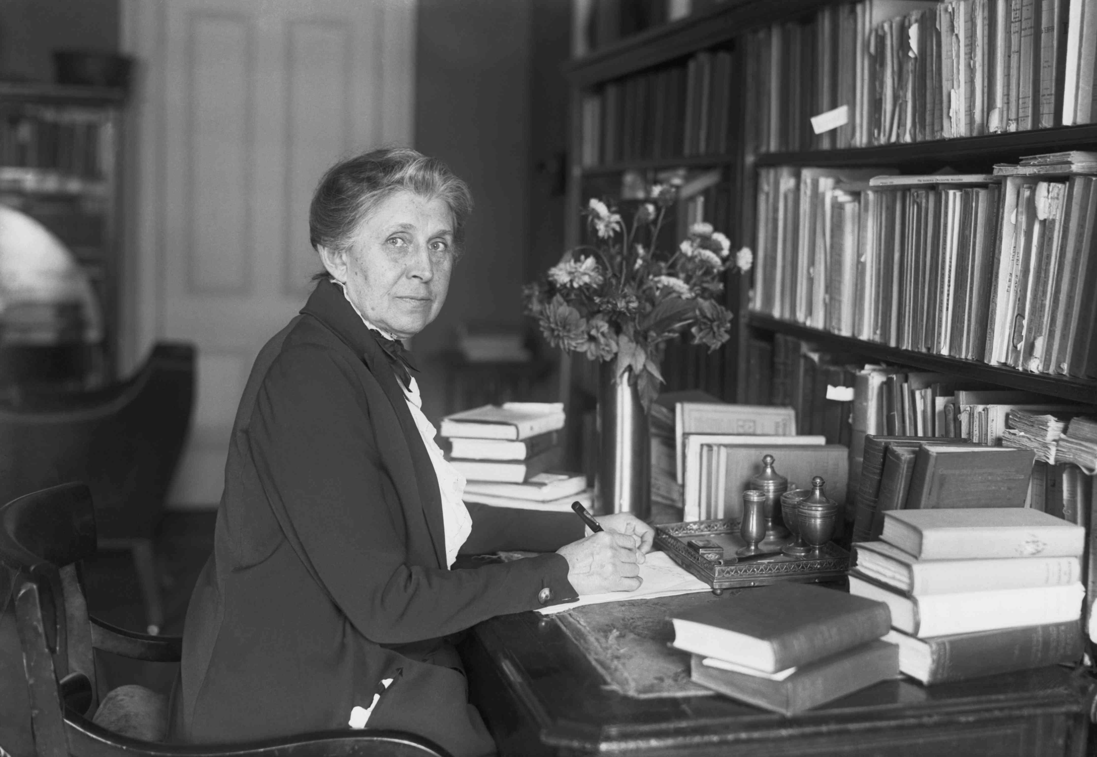Ida M. Tarbell at her desk