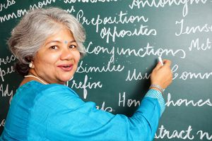 teacher pointing to chalkboard