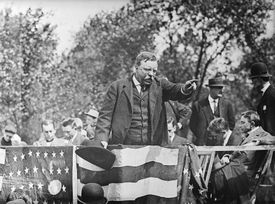 Theodore Roosevelt giving a campaign speech