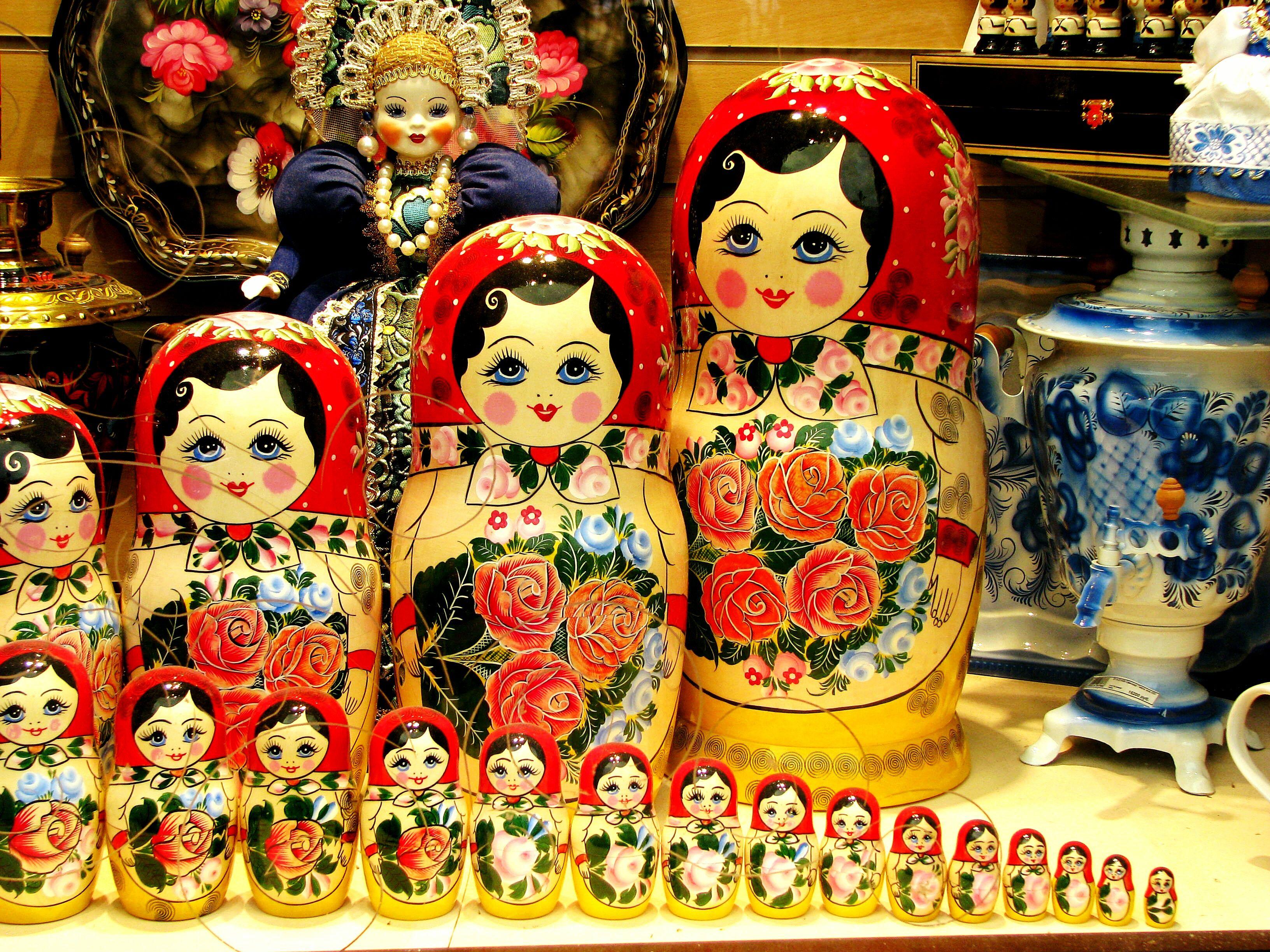 Matryoshka Dolls Arranged On Table At Shop