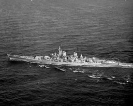 Black and white photo of the USS Iowa taken in the 1940s.