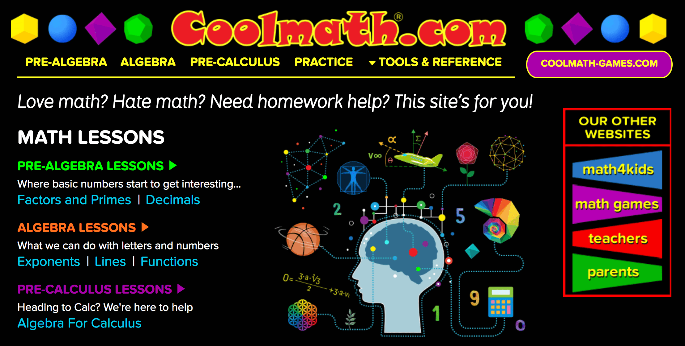 Coolmath homepage.