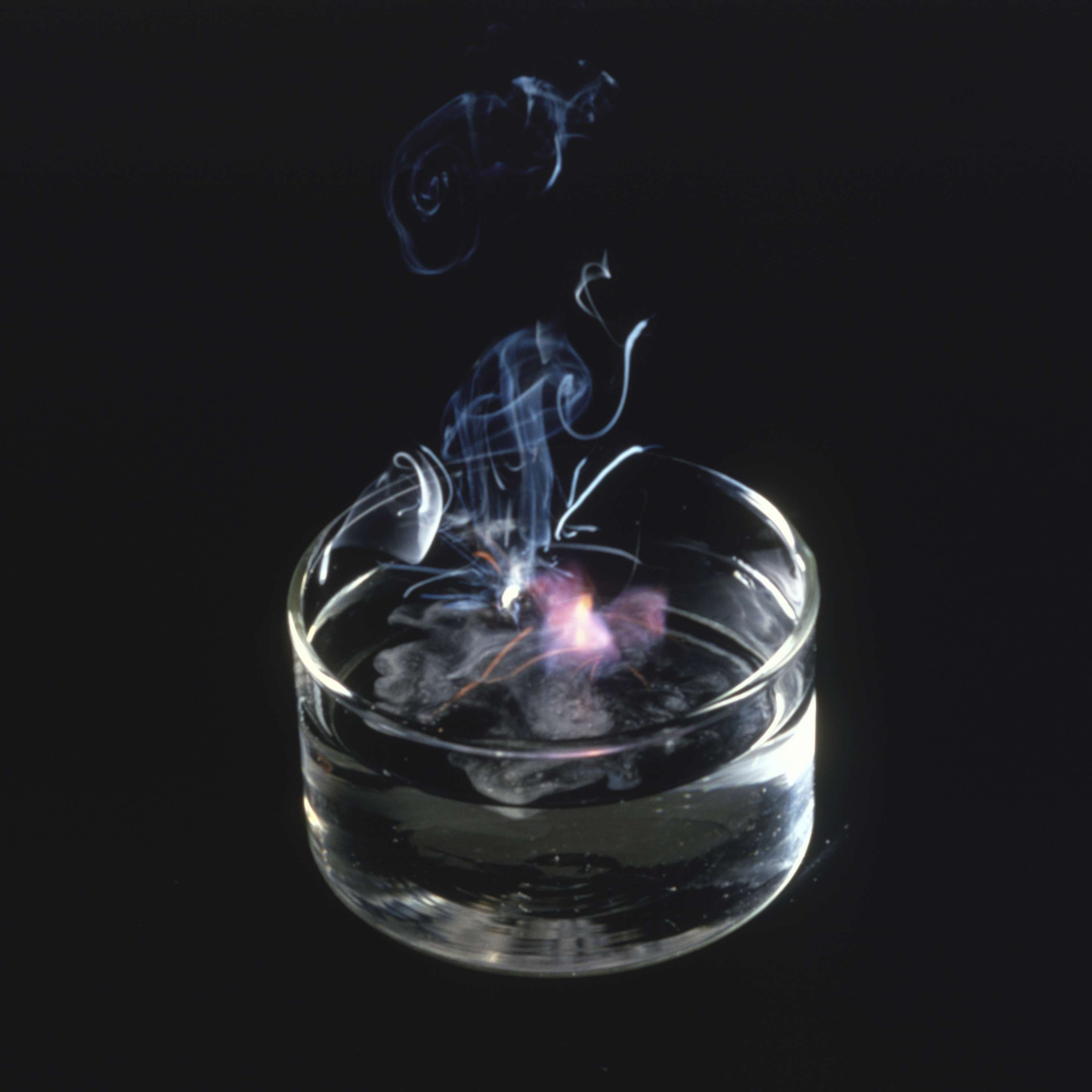 sodium reacting in a container of water