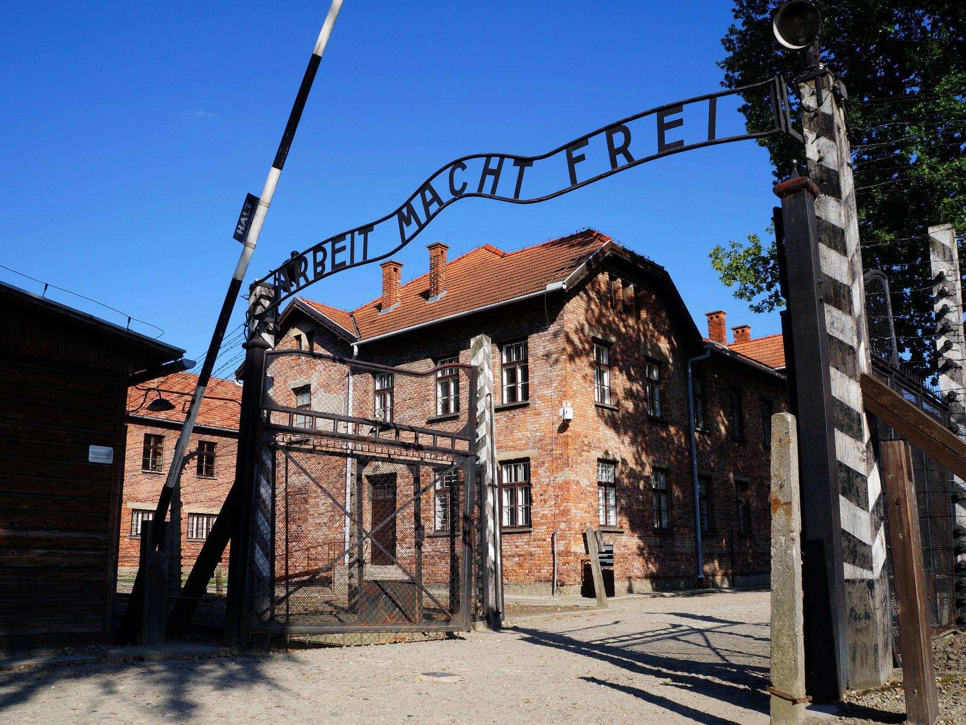 Arbeit Macht Frei Sign at Entrance of Auschwitz I