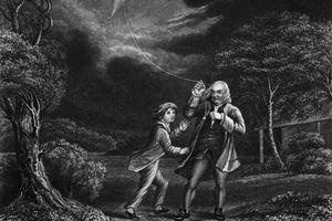 Benjamin Franklin Flying Kite in Storm