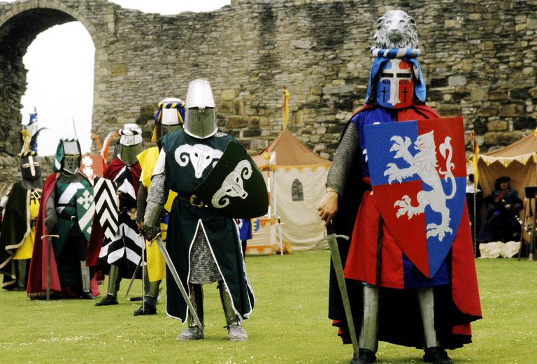 Heraldic knights in a medieval field, whose servants would often take the surname Knight