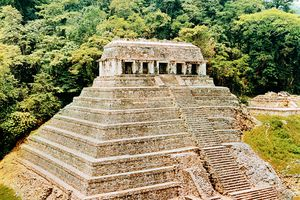 Pyramid and Temple of the Inscriptions, Palenque, Mexico, in full sunlight.