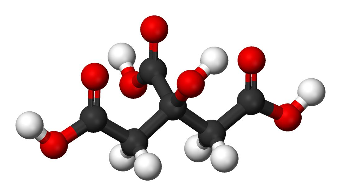 Ball and stick model of citric acid. Citric acid is also known as 2-hydroxypropane-1,2,3-tricarboxylic acid. It is a weak acid found in citrus fruits and used as a natural preservative and to impart a sour flavoring.