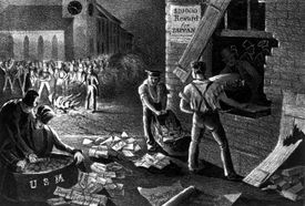A mob breaking into a post office to burn abolitionist pamphlets in Charleston, South Carolina