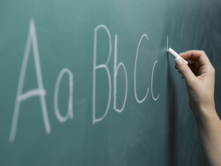 Woman writing alphabet on chalkboard, close-up