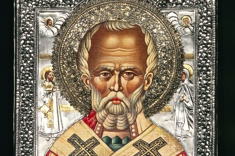 Icon depicting St Nicholas, Puglia, Italy.