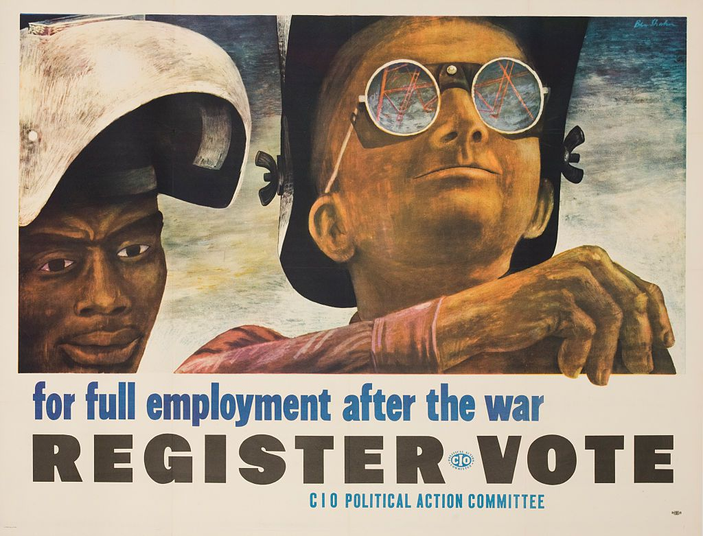 CIO Political Action Committee (PAC) voter poster, for full employment after the war