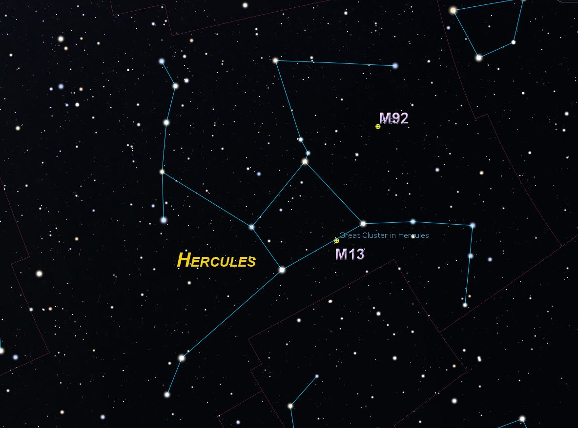 Finder chart for Hercules constellation clusters