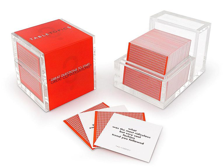 table topics cubes and some question cards