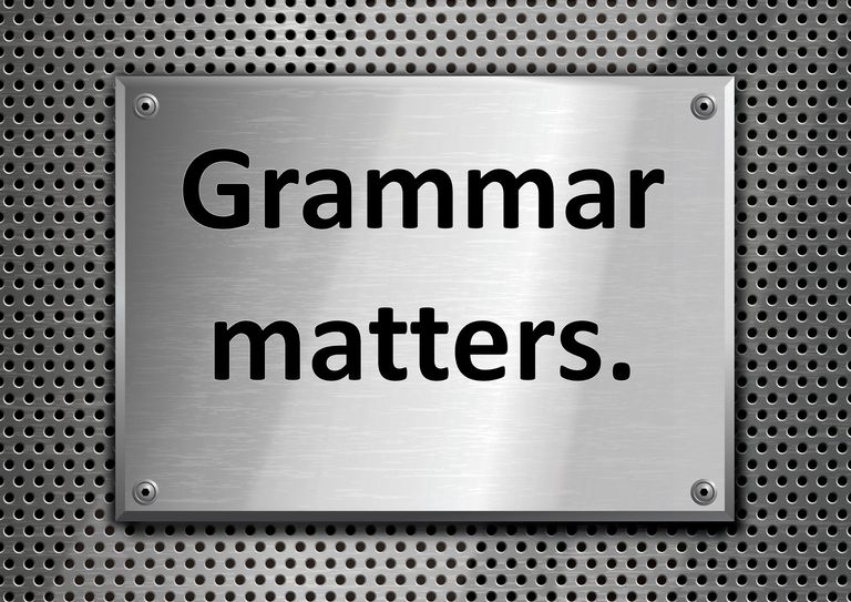 "An illustration of a sign that reads, ""Grammar matters."""