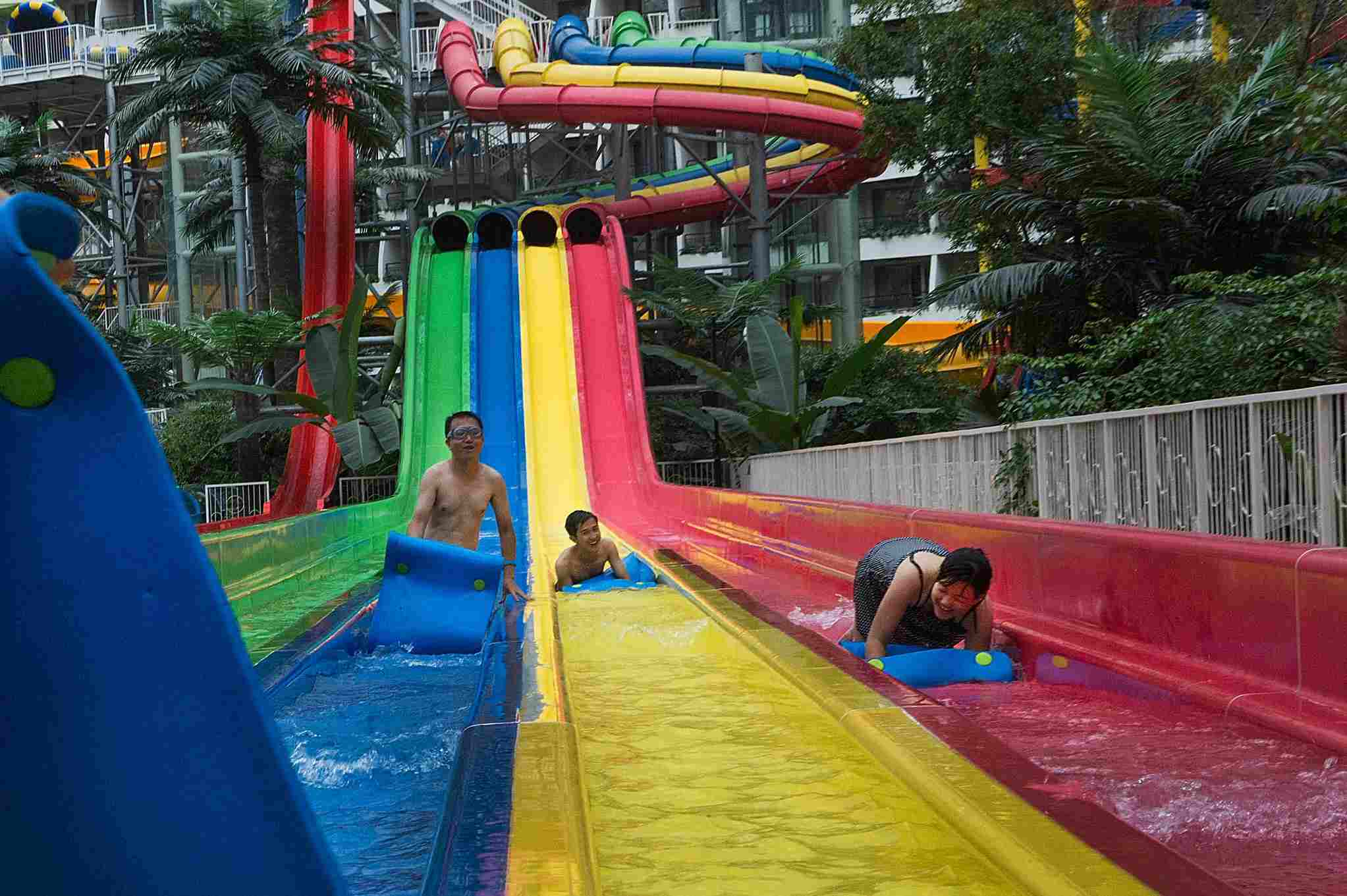 Water Slides at the Paradise Island Water Park inside the New Century Global Center
