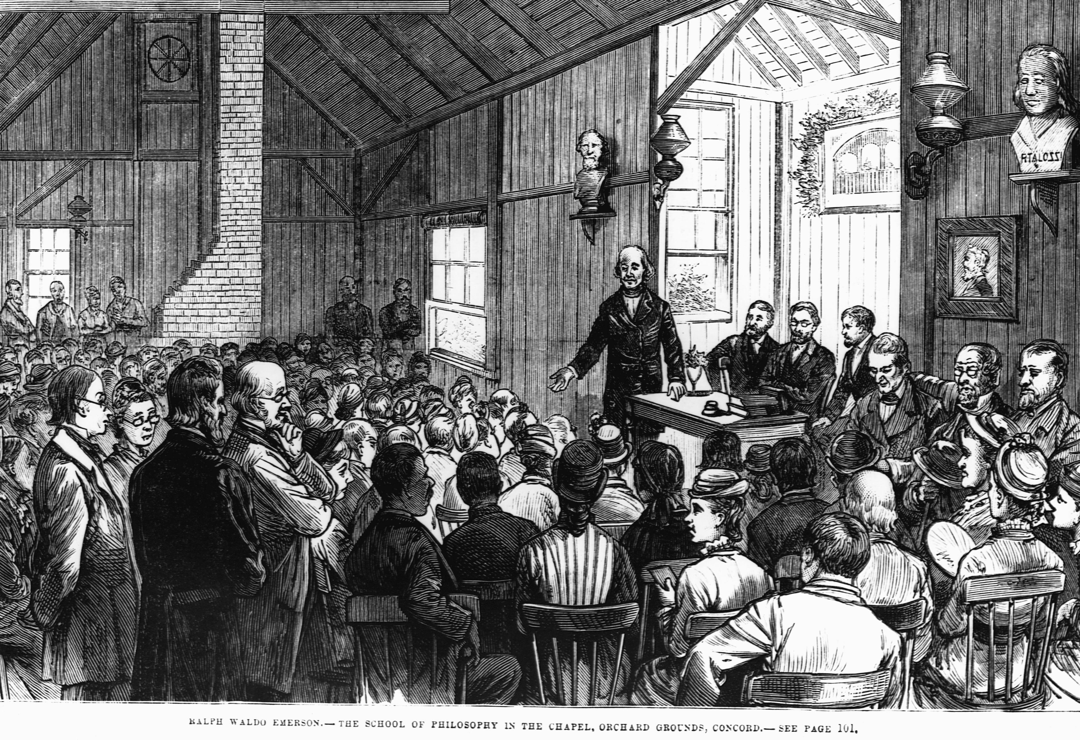 Ralph Waldo Emerson speaking in public