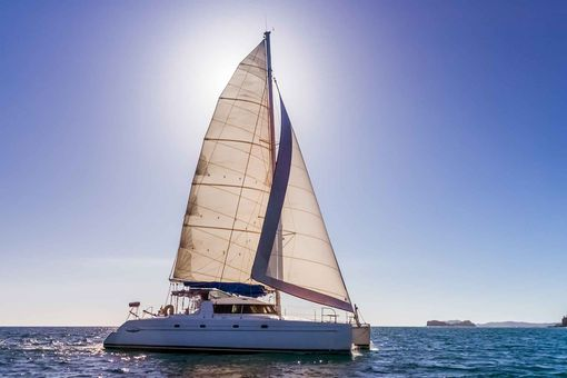 A catamaran sailboat.