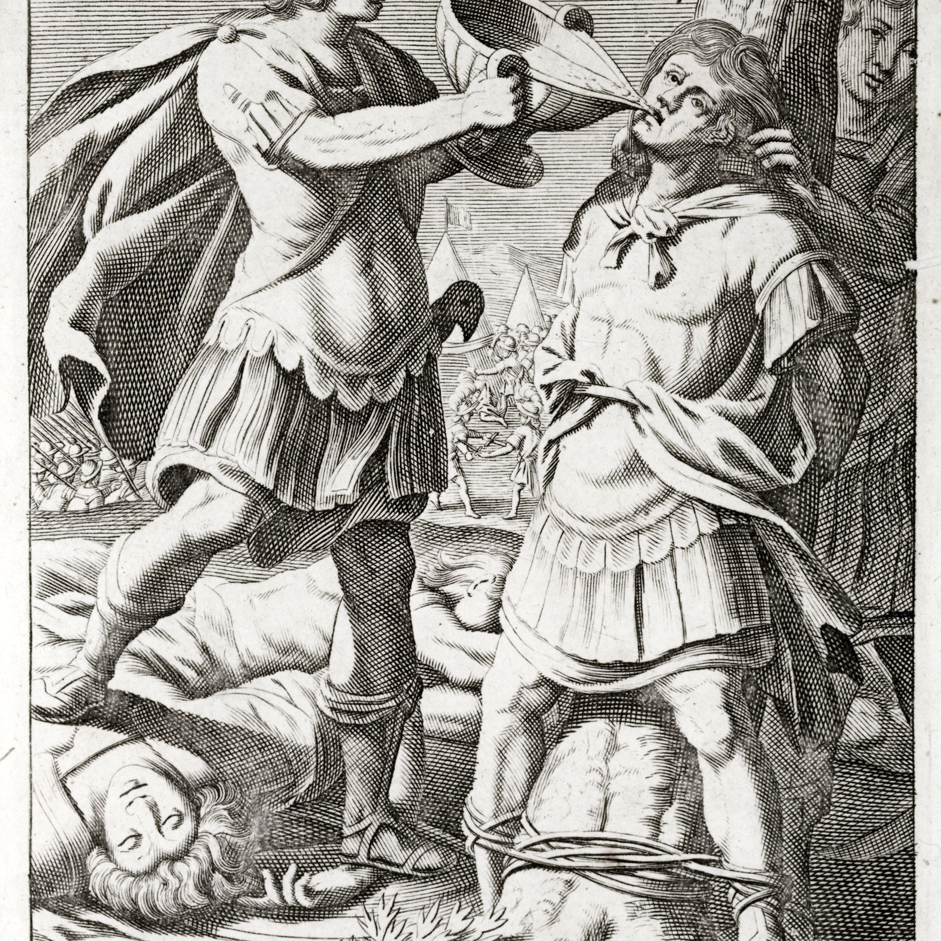 Illustration of Marcus Licinius Crassus dying against a tree.