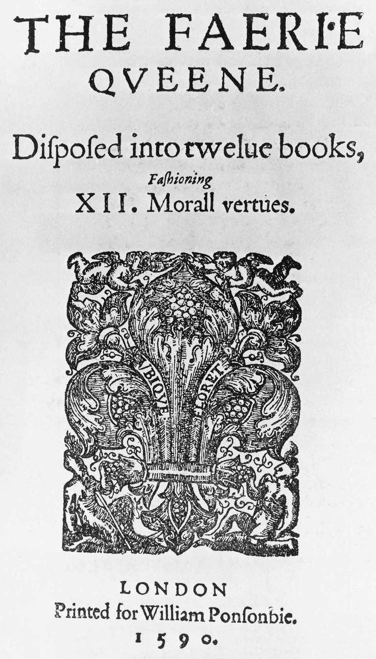 Title page of first edition of Fairy Queen (The Faerie Queene), by Edmund Spenser