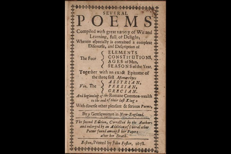 Title page, second (posthumous) edition of Bradstreet's poems, 1678
