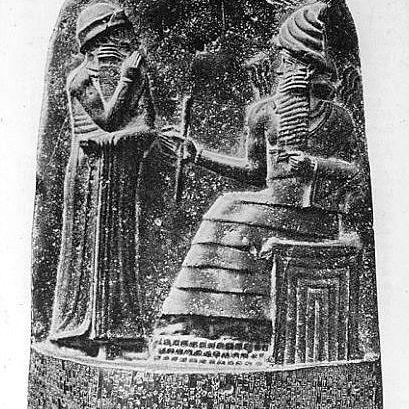 The upper part of the stela of Hammurabi's Law Code