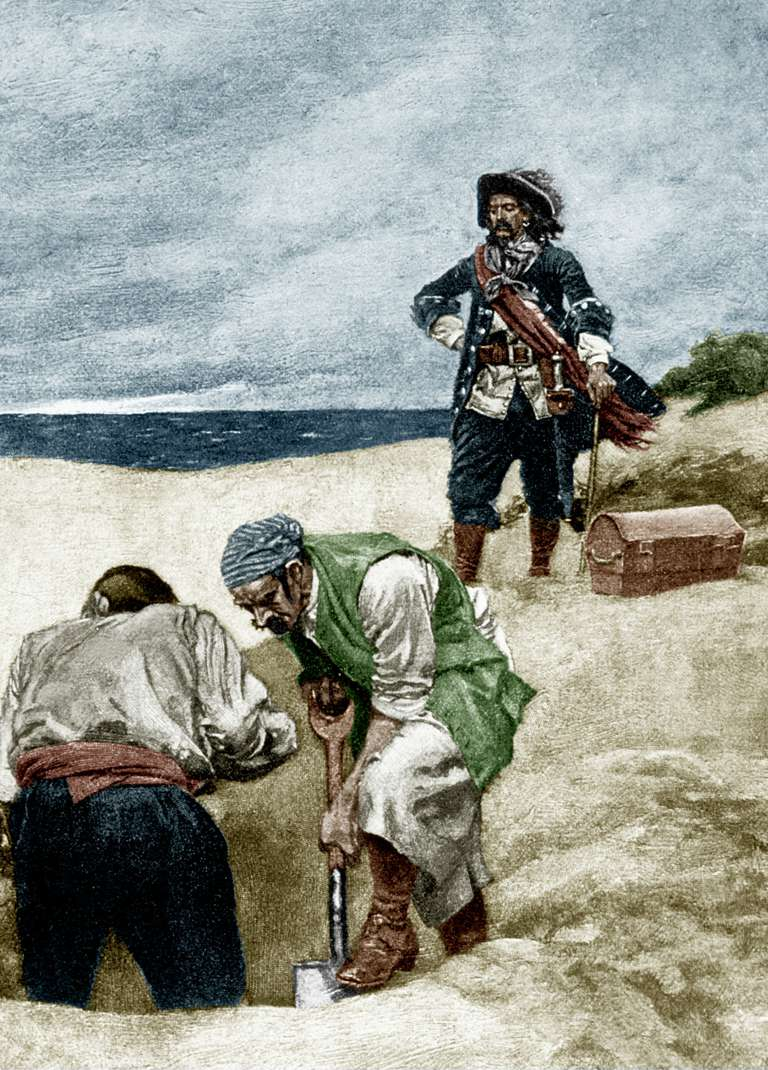 Captain Kidd, illustration for book 'Treasure Island' by Robert Louis Stevenson