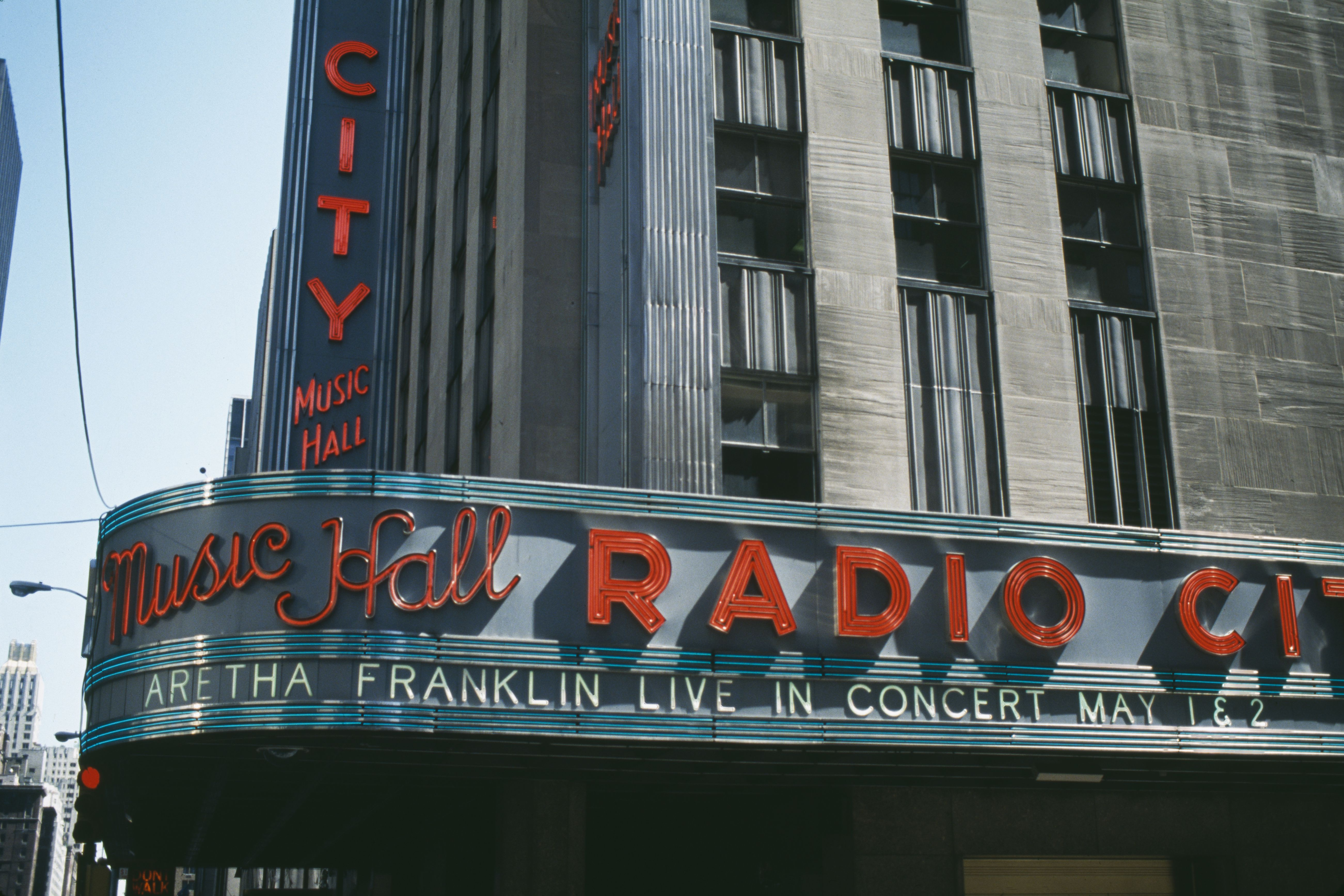 Iconic art deco marquee of Radio City Music Hall