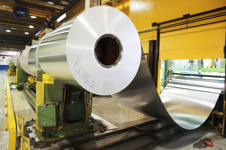 Aluminium metal rolled up in factory
