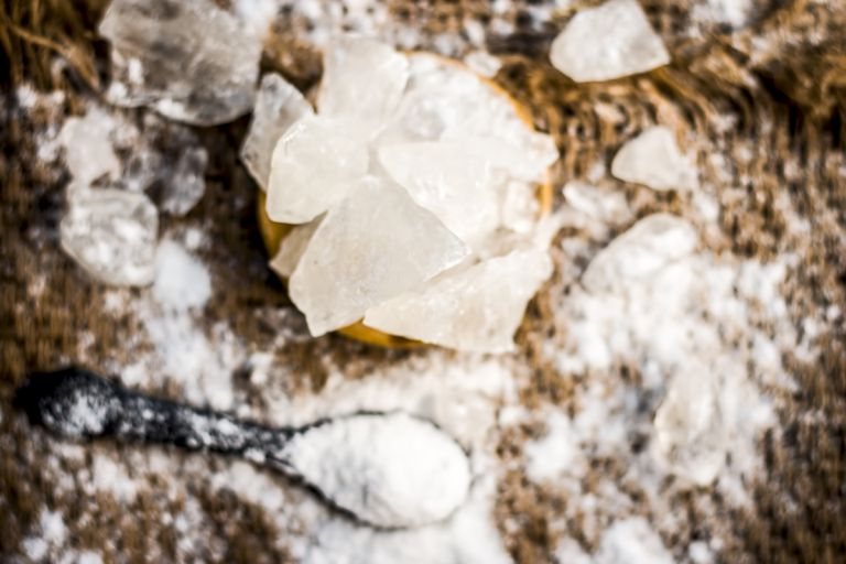 Close up of alum, potassium aluminium sulfate and soap nut,Sapindus ingredients of a traditional tooth paste for toothache and yellow teeth.