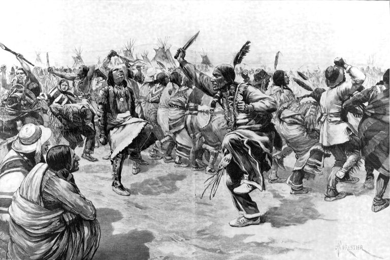Sioux Indians in native dress performing the Ghost Dance, illustrated in the London News