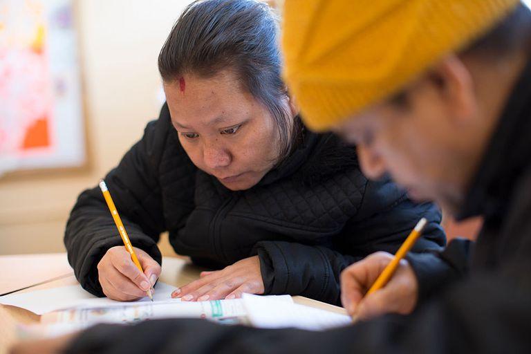 Woman doing worksheet