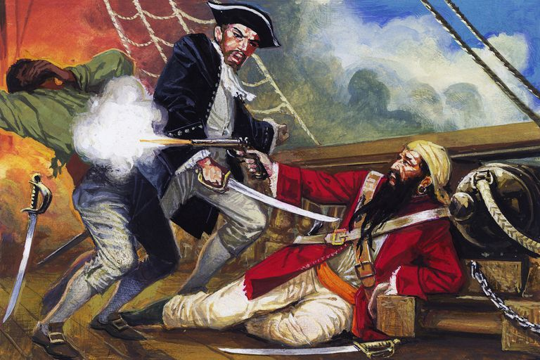 Assassination of English pirate Edward Teach, better known as Blackbeard (ca 1680-1718), drawing