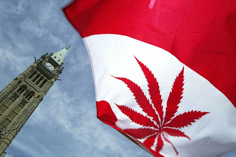 Marijuana leaf on Canadian flag