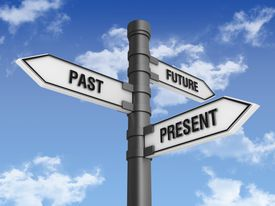 Directional Sign with Past Future Present Words