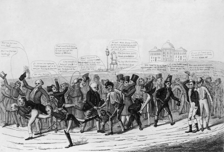 The candidates in the 1824 US presidential election take part in a foot race toward the White House, watched by cheering crowds. A cartoon by David Claypoole Johnson.