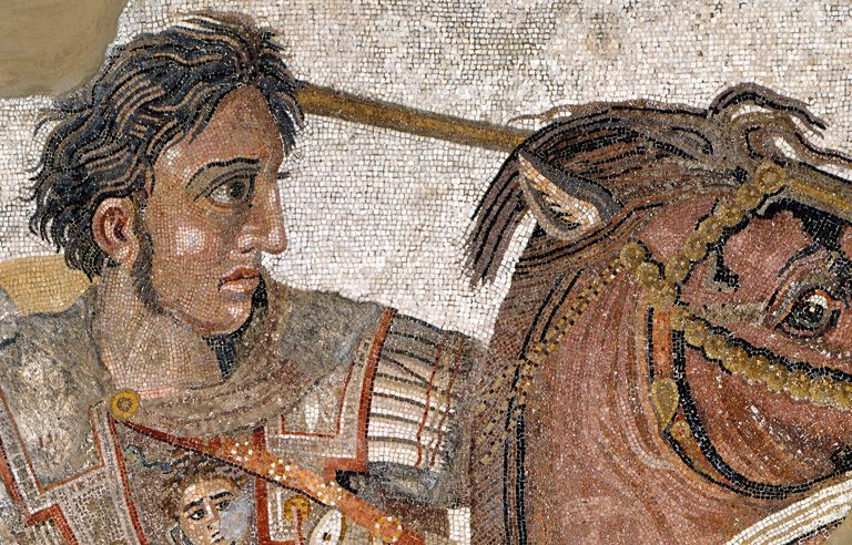 Detail of Mosaic Alexander the Great at the Battle of Issus, Pompeii