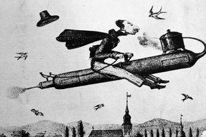 1840s cartoon of a man riding a rocket in the sky