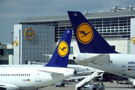 Lufthansa aircrafts at Frankfurt International airport
