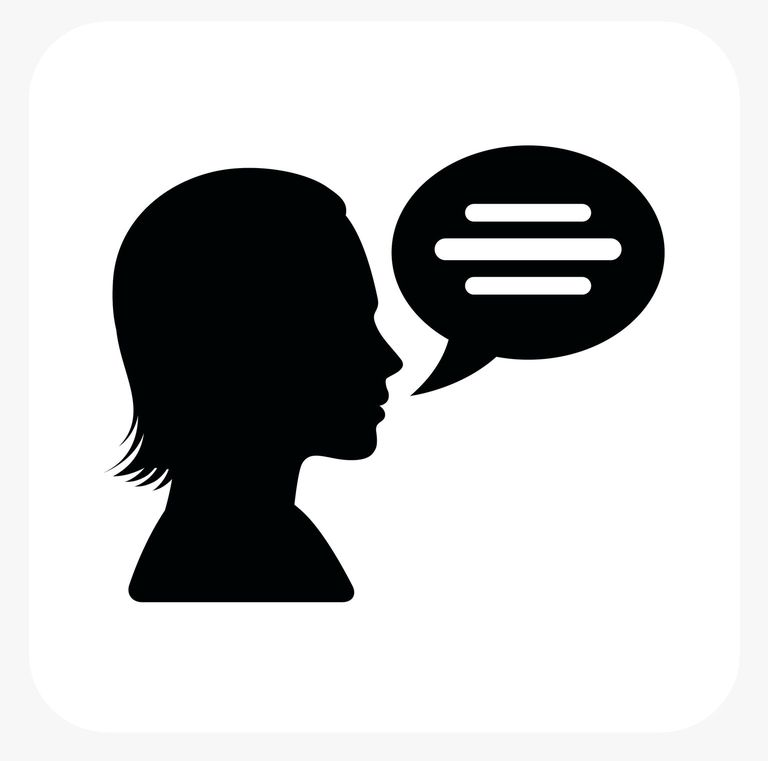 illustrated silhouette of woman speaking