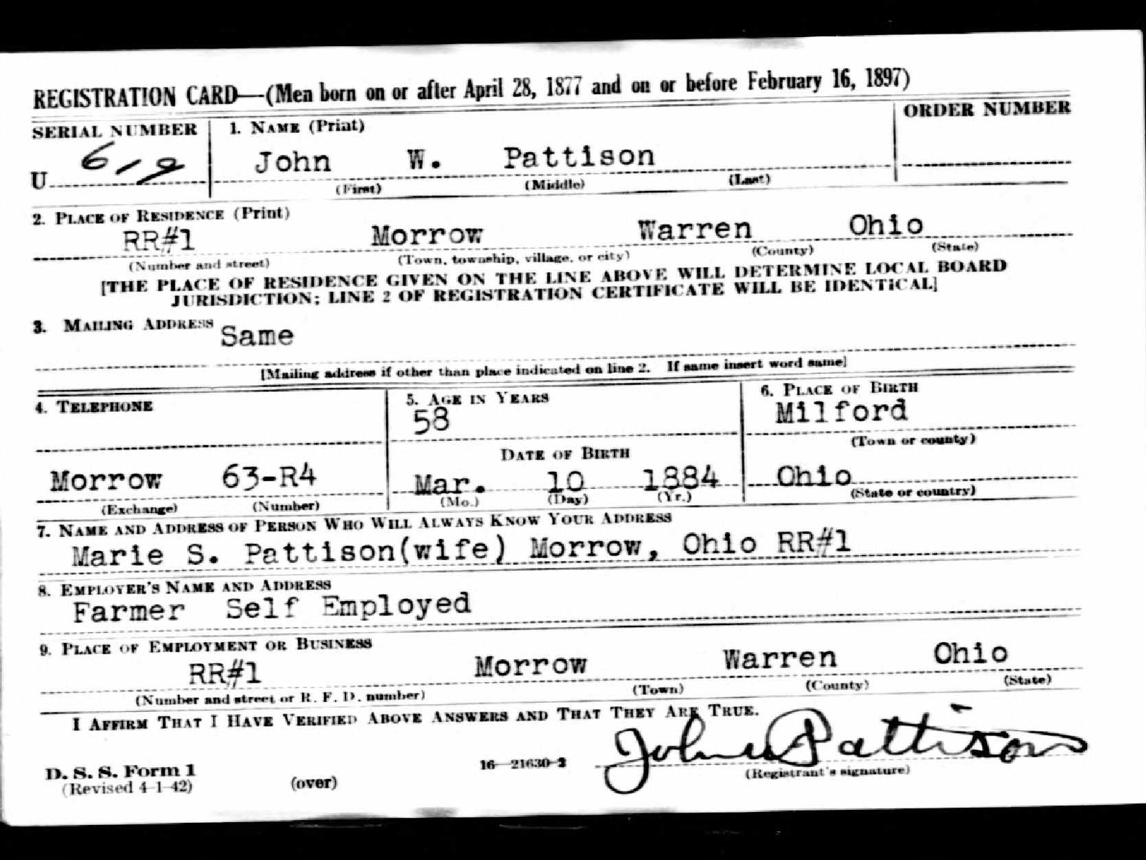 Search Draft Registration Records Cards From Wwii