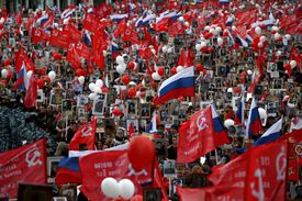 Victory Day Military Parade Immortal Regiment March In Moscow