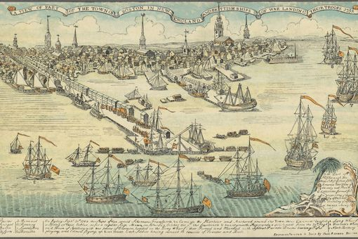 Colored reproduction of 1768 engraving of the Town of Boston and British ships of war landing their troops, by Paul Revere