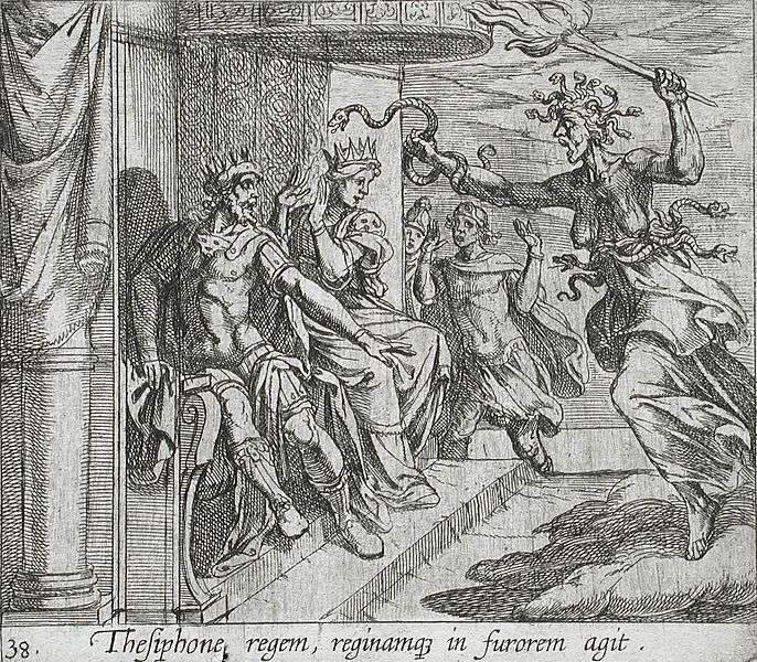 Tisiphone gets revenge for Juno on Athamas and Ino