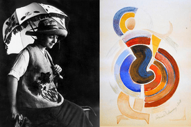 L: Sonia Delaunay photographed with some of her designs. R: An untitled 1917 painting by Delaunay.