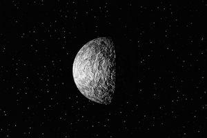 DIGITAL ILLUSTRATION OF PLUTO IN SPACE