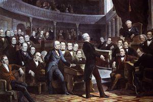 Speaker of the House of Representatives Henry Clay (1777 - 1852) addressing the Senate.