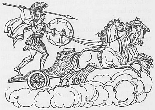 Ein Bild des Gottes Mars oder Ares aus Keightleys Mythologie, 1852.