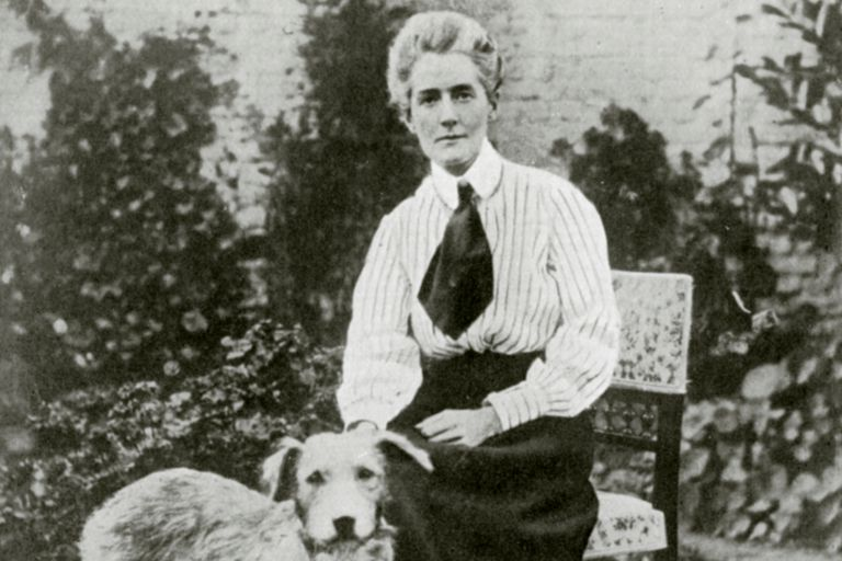 portrait of Edith Cavell and dog