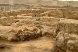Mudbrick Walls and a Shrine at Catalhoyuk Tell, Turkey